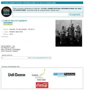 Entrades Carles Bellot al festival Jazz Barcelona